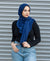 Viscose Hijab with black satin trim - Deep Royal