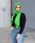 Viscose Hijab with black satin trim - Green