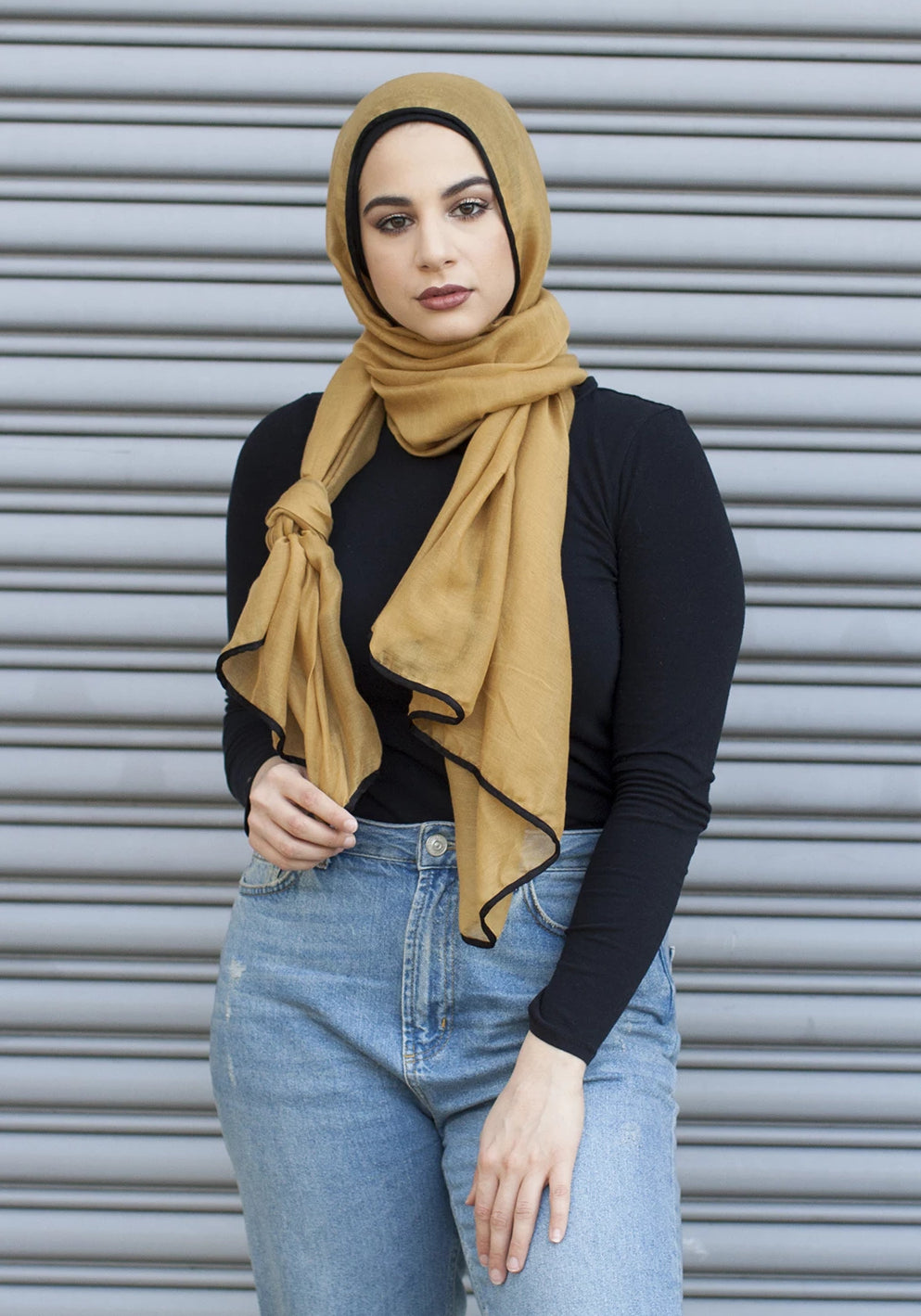 Viscose Hijab with black satin trim - Mustard