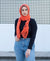 Viscose Hijab with black satin trim - Mandarin Orange