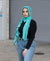Viscose Hijab with black satin trim - Turquoise