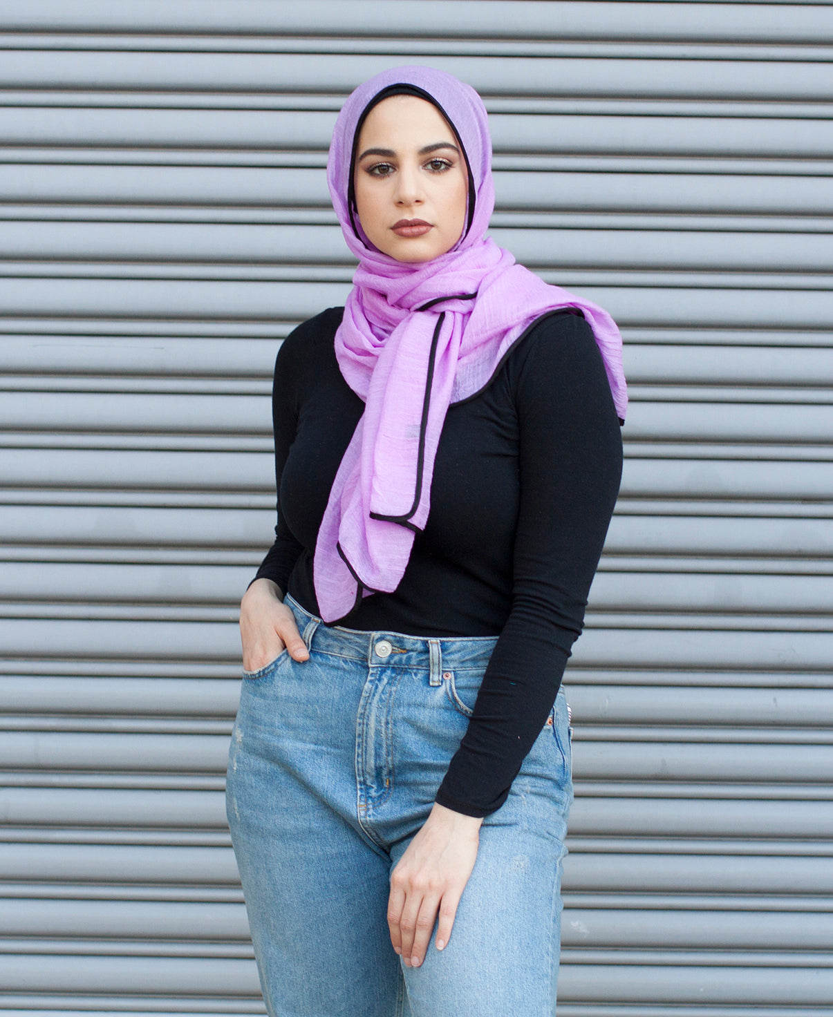 Viscose Hijab with black satin trim - Violet