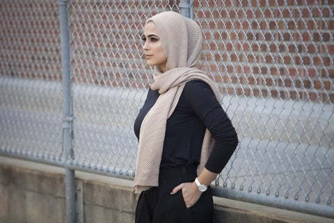 Viscose Cotton Ridge Hijab - Beige