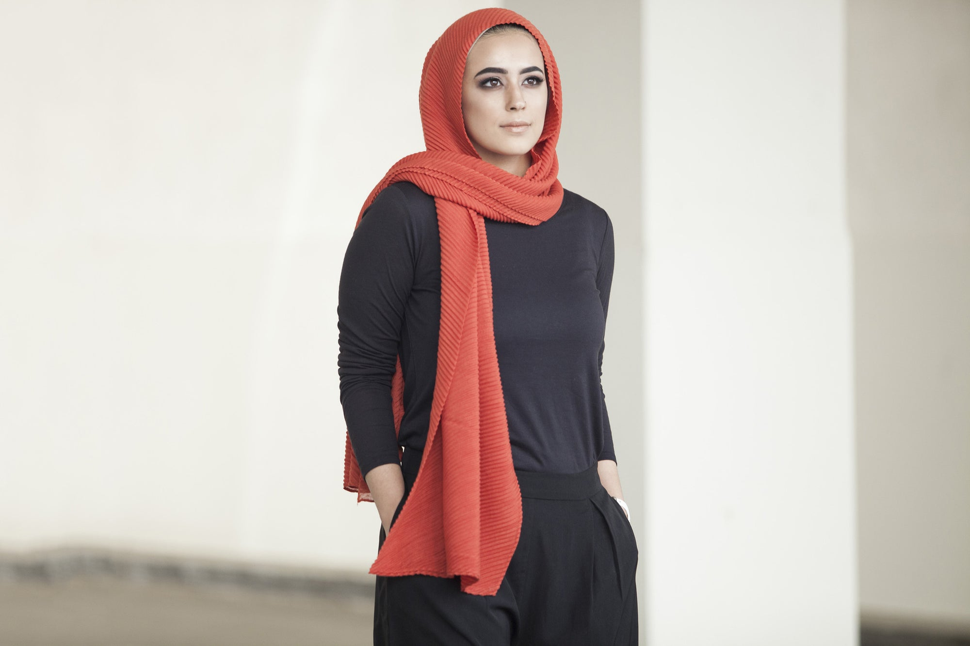 Viscose Cotton Ridge Hijab - Burnt Orange