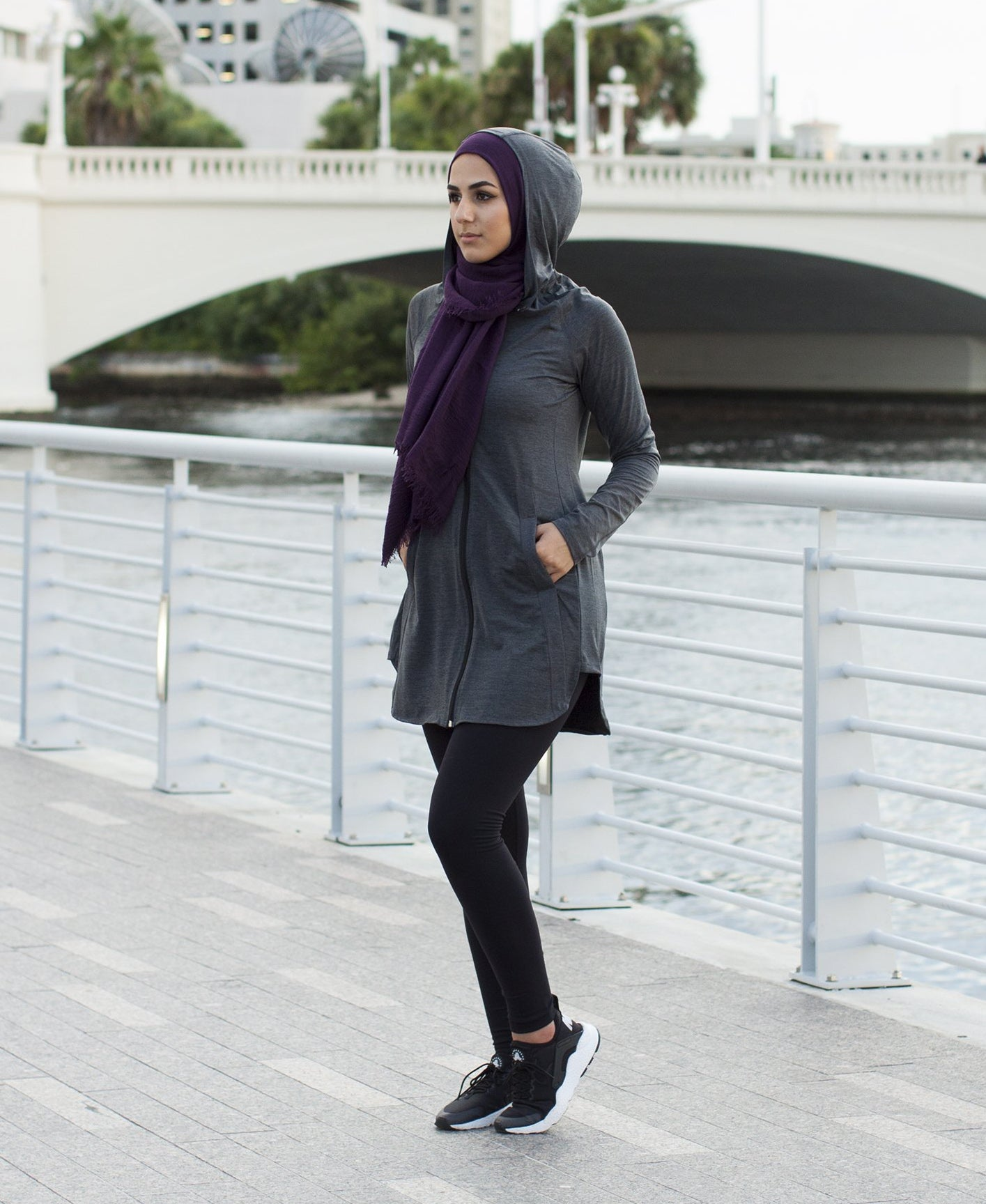 Zaira Modest Workout Top -  Dark Grey