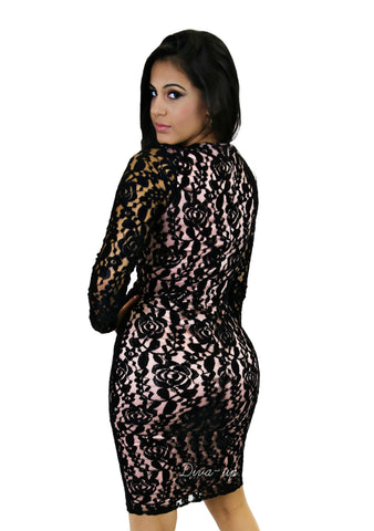 Black Lace Pink Mini BodyCon Dress long Sleeves Knee Length V neck