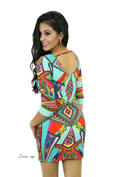 Mutli  Jewel Colored  Bodycon with Jade the Dominating Color