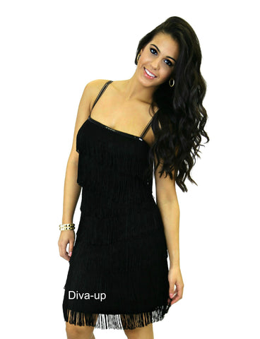 Flapper Fringe Black BodyCon Dress