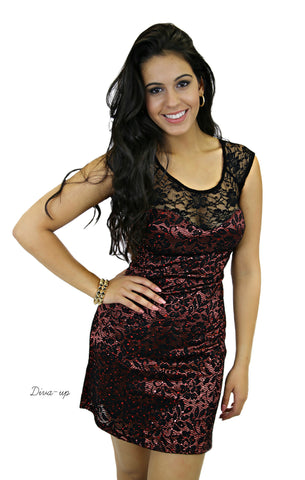 Black Lace Burgundy BodyCon Dress