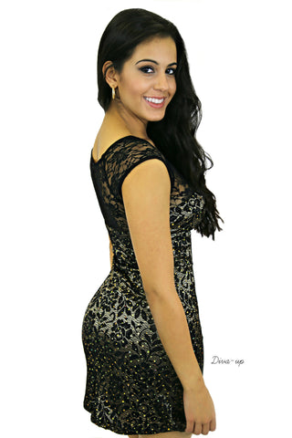 Black Lace Gold Flecks BodyCon Dress