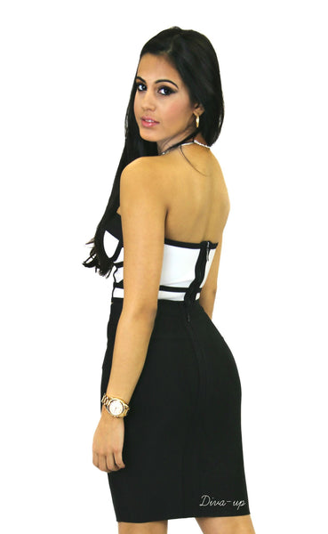 Black White Two Piece Bandage Dress2