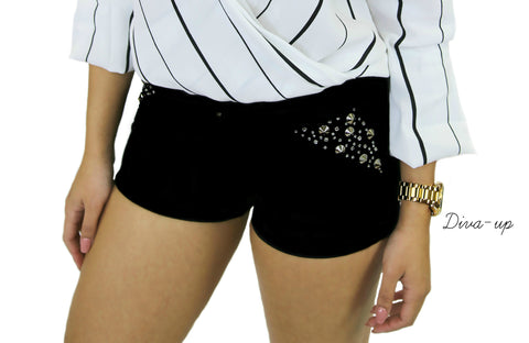 Black Shorts with Rhinestone, Stud Detailing and Back Pockets