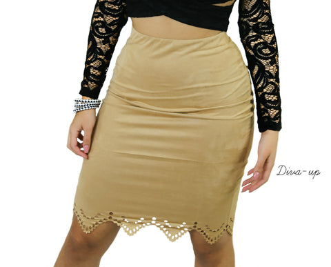 Faux Suede Pencil Skirt Light Brown