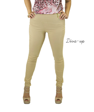 Khaki Skinny Pants Stretch with Side Zipper and Two Back Pockets.
