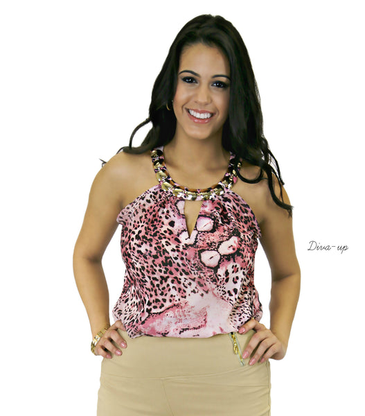 Pink  Black  Print Top with Gold Metal Necklace