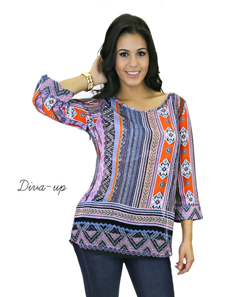 Lilac Orange Black Top with 3/4 Sleeves