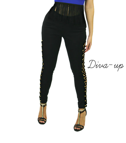 Black Gold Studded Pants