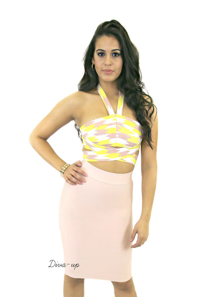 Blush Yellow and white Bandage Dress Two piece2