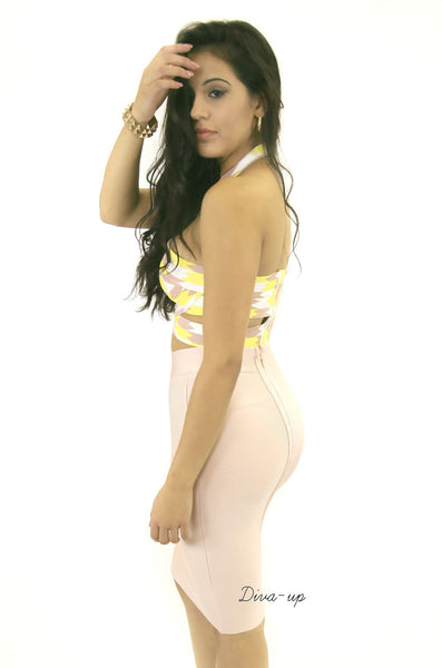 Blush Yellow and white Bandage Dress Two piece1