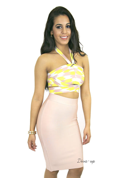 Blush Yellow and white Bandage Dress Two piece