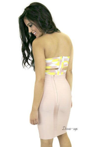 Blush Yellow and white Bandage Dress Two piece3