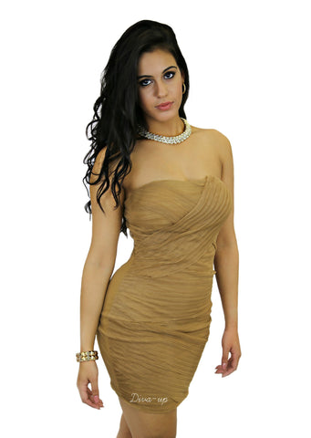 Mocha Strapless Short BodyCon Dress
