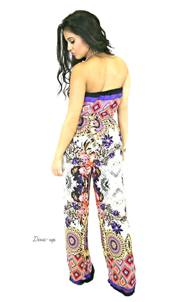 Jumpsuit estampado morado straples
