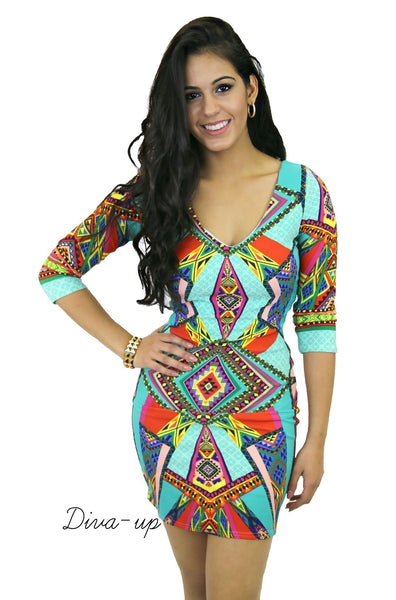 Mutli  Jewel Colored  Bodycon with Jade