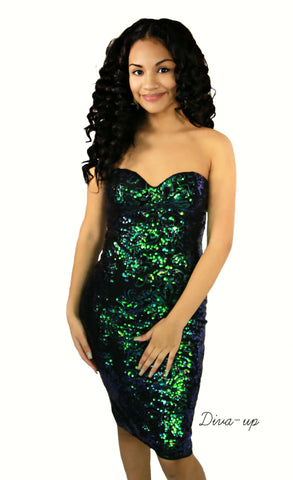 Green Sequined Midi Bodycon Dress