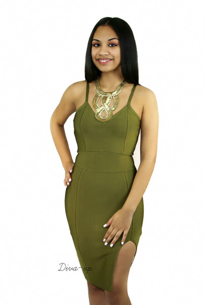 Olive Bandage Dress sleeveless