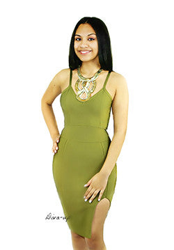 Olive Sleeveless Bandage Dress.