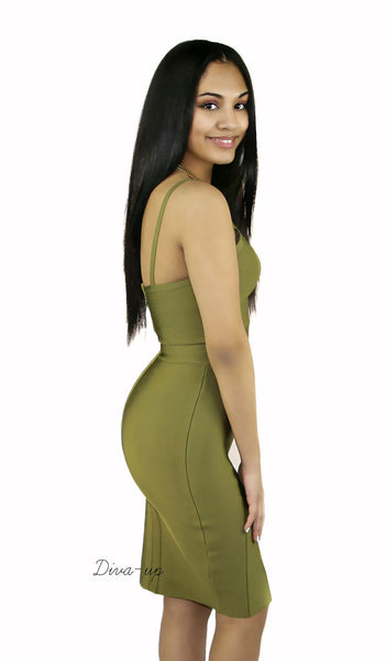 Olive Bandage Dress sleeveless1