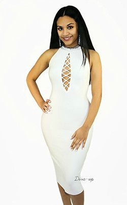 White bandage dress sleeveless small
