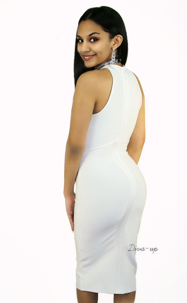 White bandage dress sleeveless2