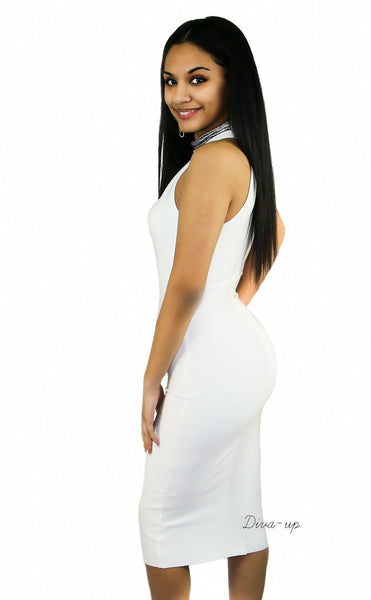 White bandage dress sleeveless1