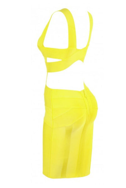 Yelow Bandage dress, sleveless,  V neck, back closure zipper,  pencil skirt, very stretching1