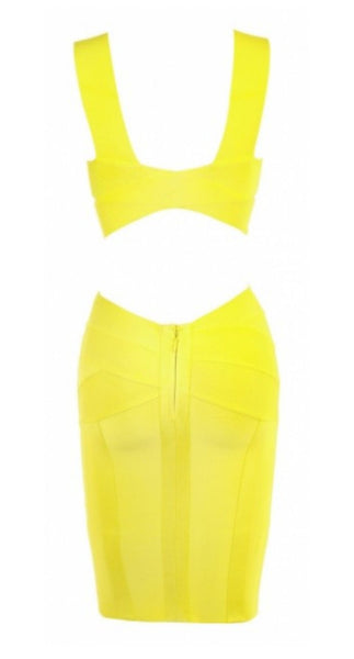 Yelow Bandage dress, sleveless,  V neck, back closure zipper,  pencil skirt, very stretching2