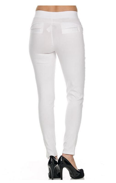 White Stretchy Skinny Pants  two Pockets in front 1