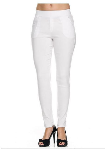 White Stretchy Skinny Pants  two Pockets in front