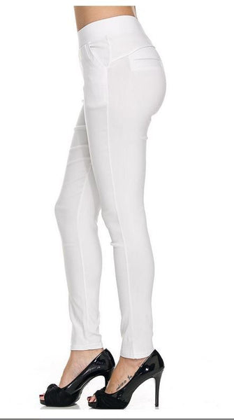 White Stretchy Skinny Pants  two Pockets in front 3