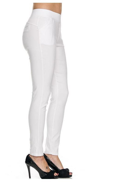 White Stretchy Skinny Pants  two Pockets in front 4