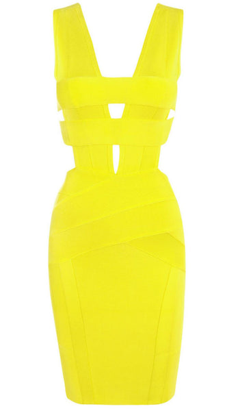 Yelow Bandage dress, sleveless,  V neck, back closure zipper,  pencil skirt, very stretching