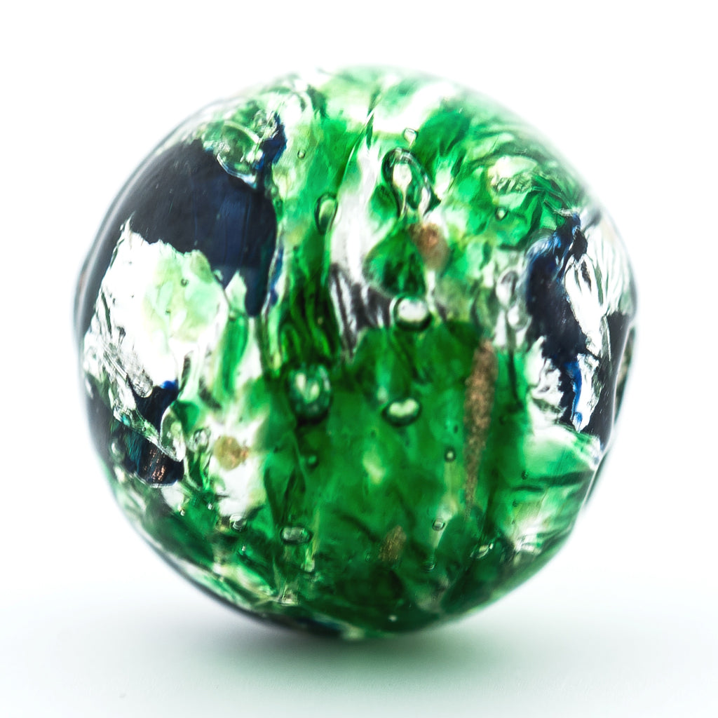 14MM Emerald Green Foiled Bead (3 pieces)