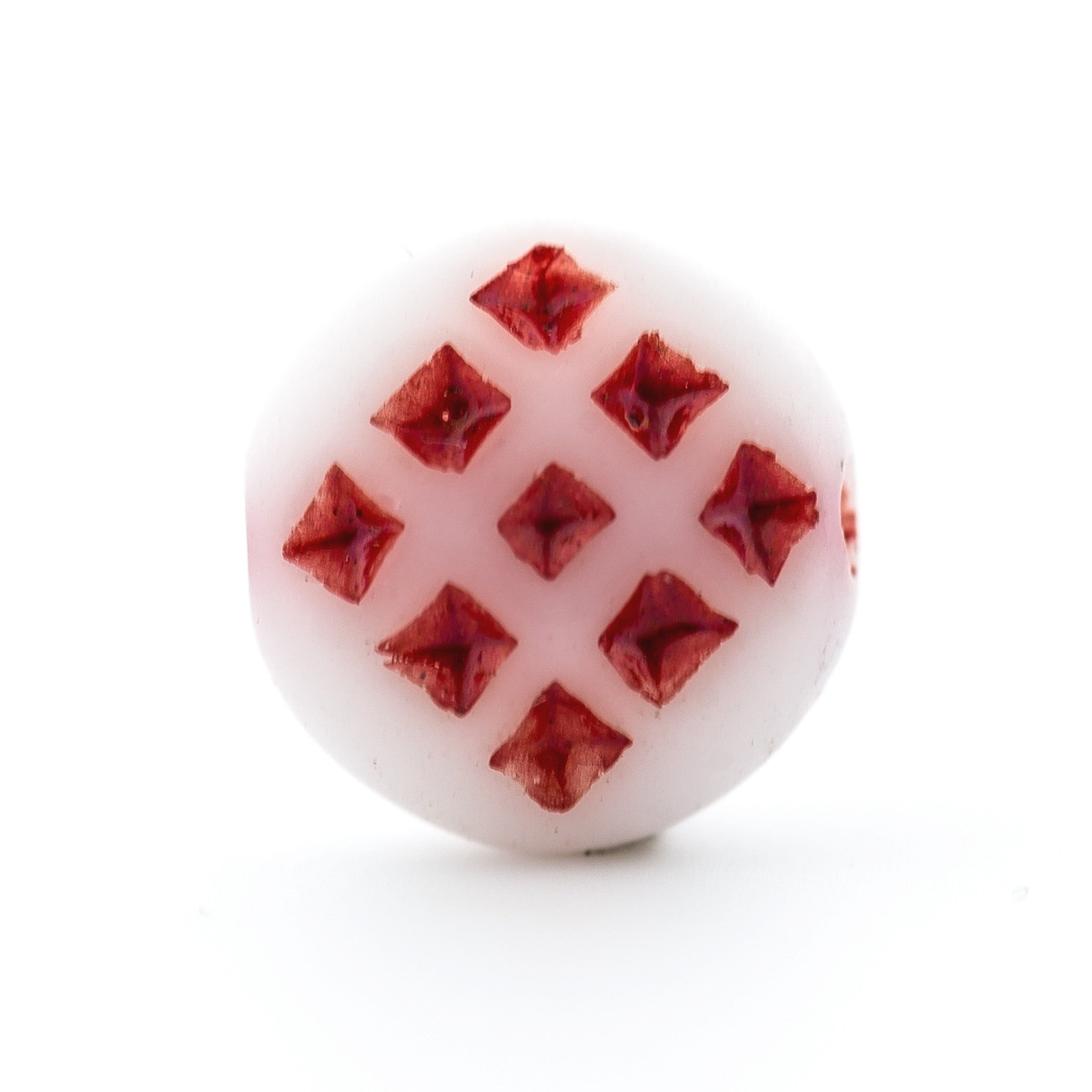 White w/Red Glass Disc Bead (144 pieces)