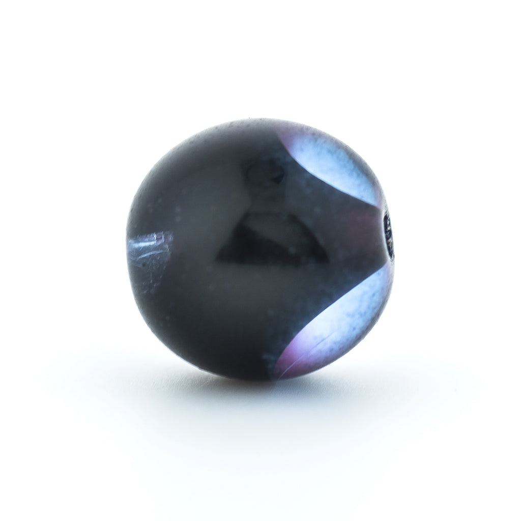 10MM Sapphire/Black Glass Round Bead (72 pieces)