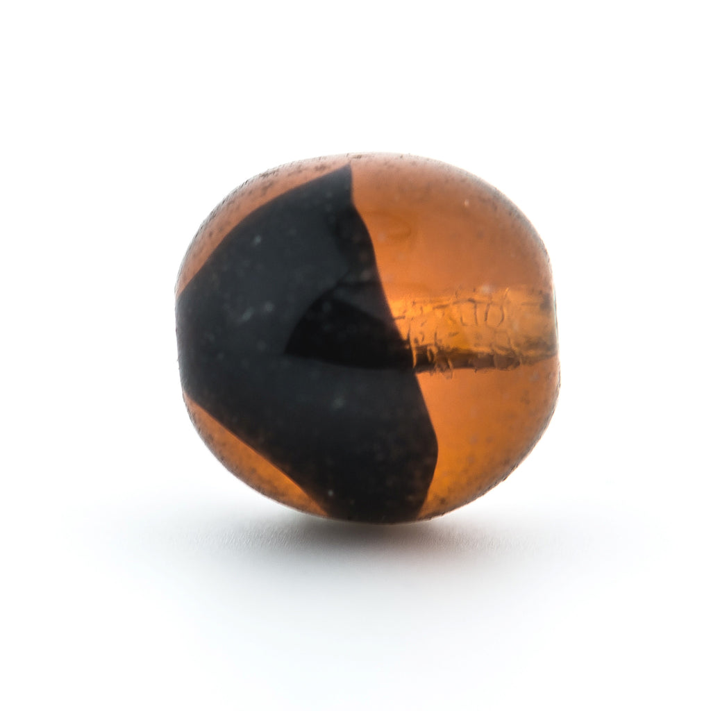 10MM Topaz/Black Glass Round Bead (72 pieces)