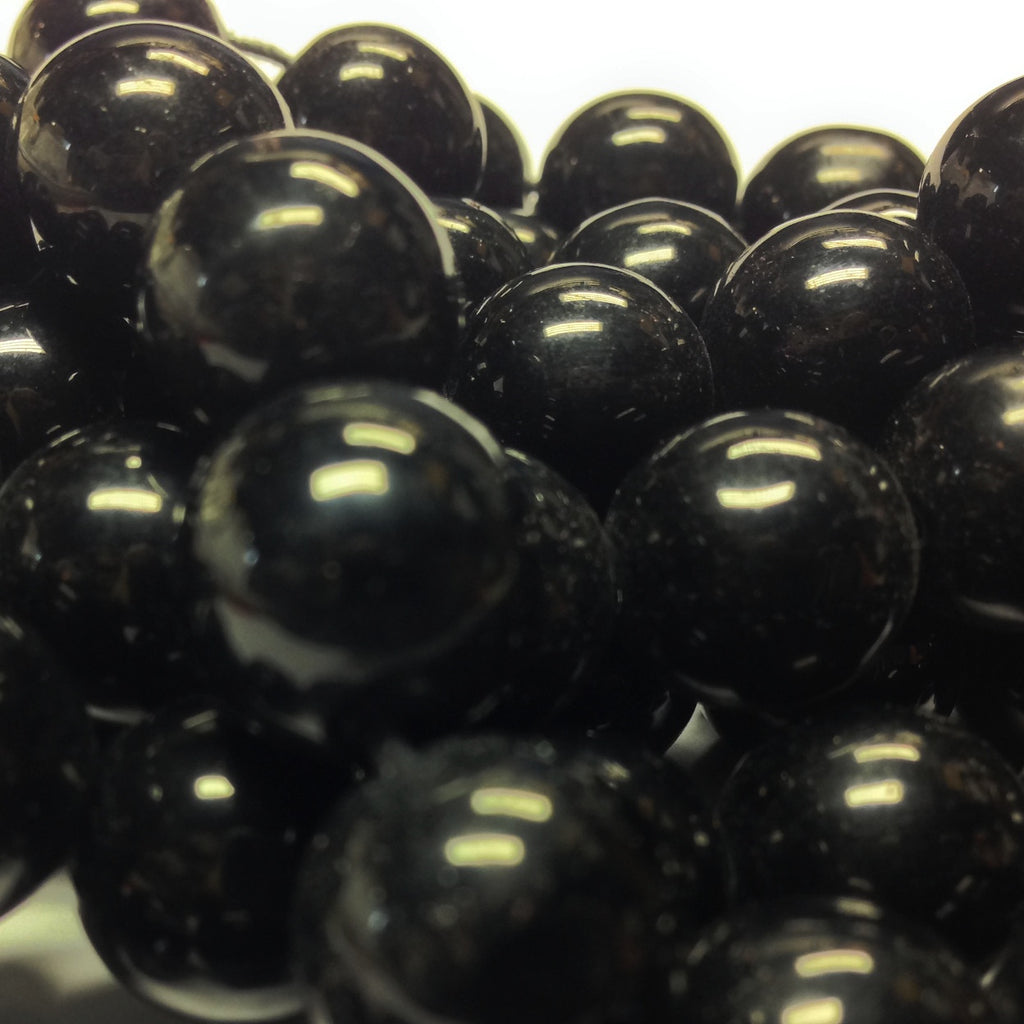 10MM Black Glass Round Beads (100 pieces)