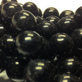 14MM Black Glass Round Beads (100 pieces)
