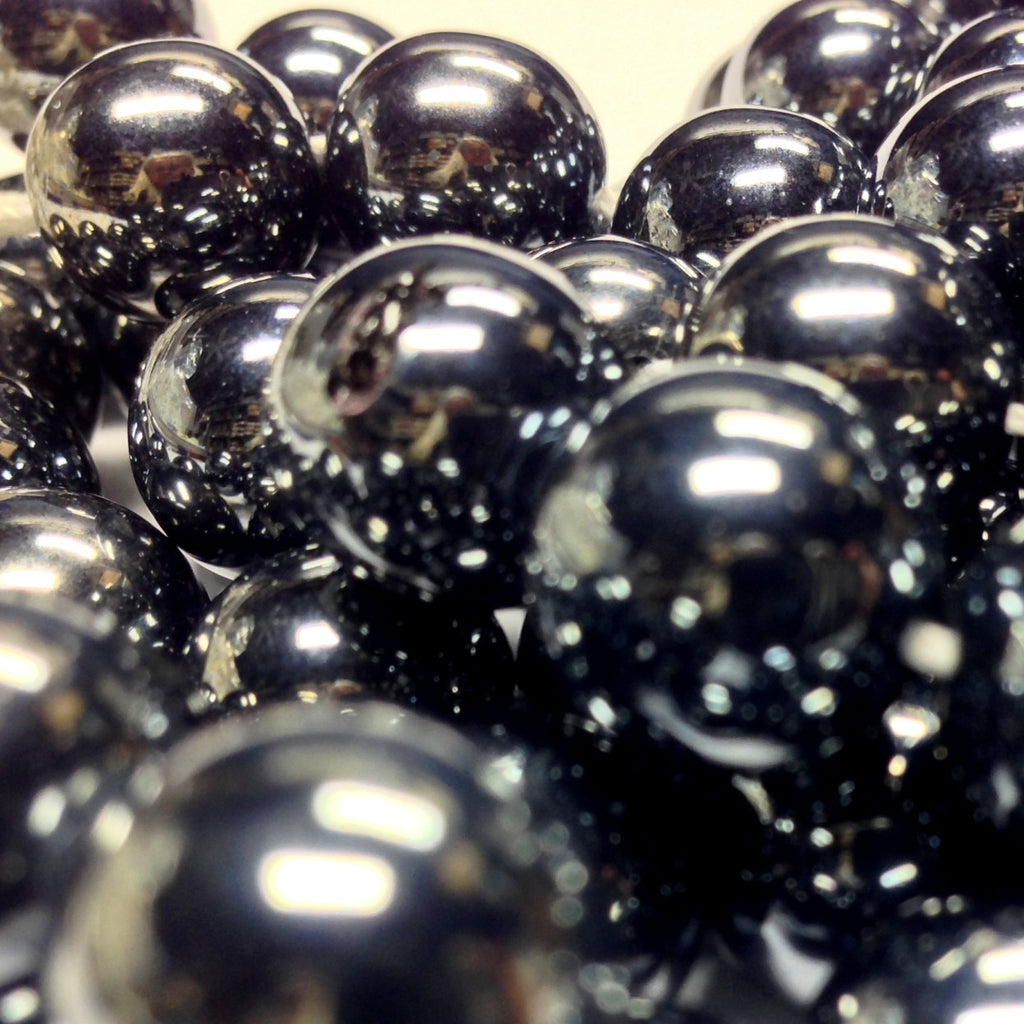 12MM Gunmetal Glass Round Bead (100 pieces)