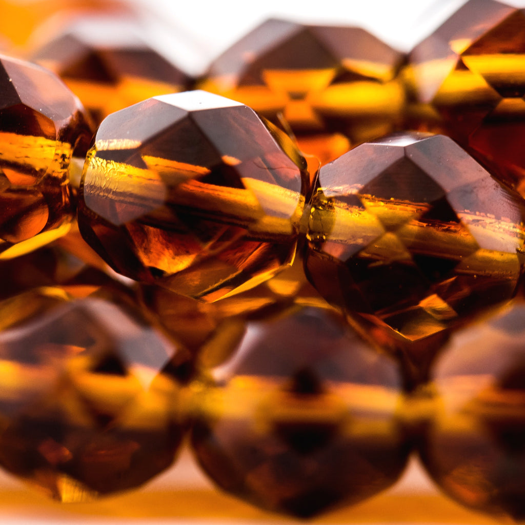 6MM Lt.Topaz/Dark Topaz Firepolish Bead (300 pieces)